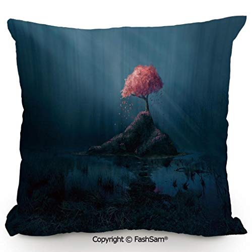 FashSam Throw Pillow Covers Lonely Pink Sakura Tree in Mysterious Forest Sunbeams Marsh Rock for Couch Sofa Home Decor(18