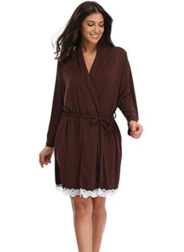 The Bund Women s Cotton Kimono Robes Soft Lightweight Bathrobe with Lace  Trim at Amazon Women s Clothing store  c571118a4