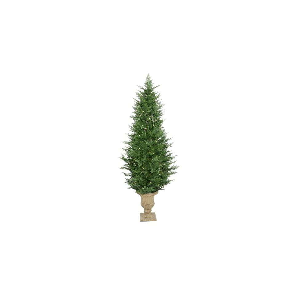 6 Pre Lit Slim Cypress Potted Christmas Tree   250 Clear Dura Lit Lights