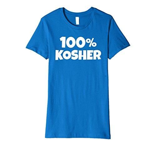 Womens 100% KOSHER Funny Joke Halloween Jewish Hebrew T-shirt Small Royal Blue