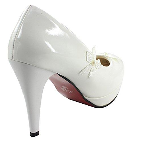 Msmushroom White Bridal 4 PU Shoes Heel 5cm Woman's r7Aq5wtr