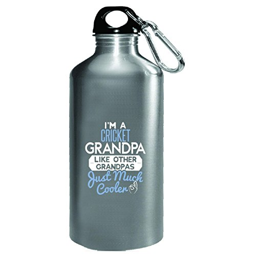Gift Cricket Grandpa Much Cooler Fathers Day Present - Water Bottle by My Family Tee