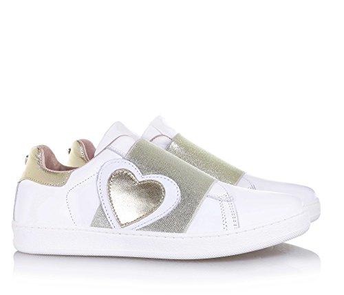 TWIN-SET - Chaussure blanche et dorée, en cuir, avec une bande décorative dorée et application d'un cœur, Fille, Filles, Femme, Femmes