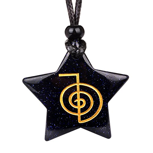 Magical Super Star Choku Rei Reiki Powers Amulet Blue Goldstone Lucky Charm Pendant Adjustable ()