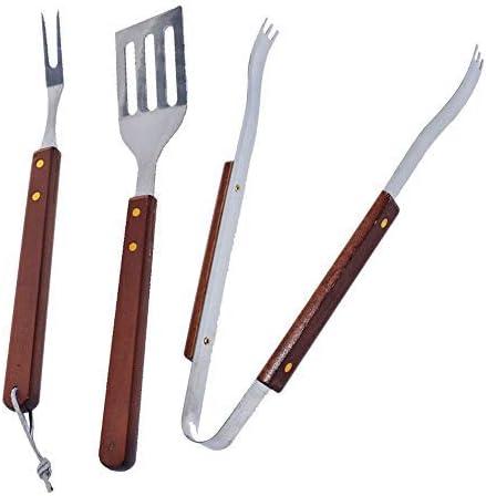 AWANG BBQ-Aid - Juego de 3 piezas para barbacoa, pinzas, espátula y tenedor, acero inoxidable resistente, accesorios y herramientas con asas de madera maciza