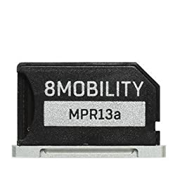 8MOBILITY iSlice Aluminum MicroSD Storage Adapter for Macbook Pro Retina 13\'\' (Late 2012 to Early 2015) - Silver