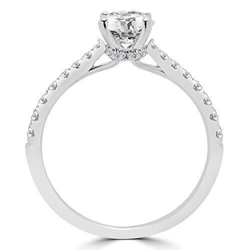 1CTW diamant coupe ronde multicolore Pierre Bague de Fiançailles en Or Blanc 18K (md160332)