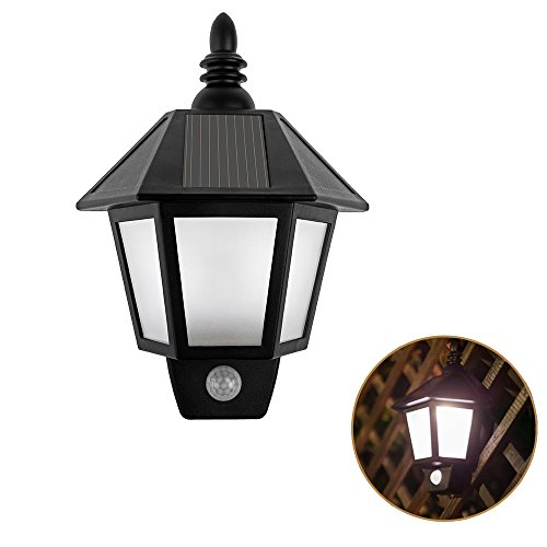 Half Wall Mount Lantern (Onerbuy Solar Powered Motion Sensor Wall Lights Outdoor Security Sconces LED Lantern Lamp for Garden Fence Patio Deck)