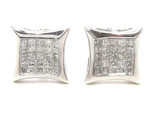 14K White Gold Invisible Diamond Stud Earrings (0.49 cttw, G Color, SI1 Clarity) by Traxnyc