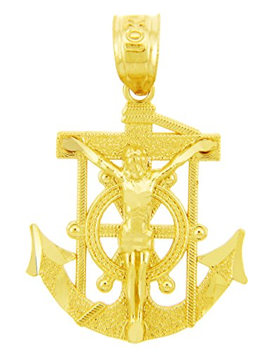 10 ct 471/1000 Religieux Charmes - La Mariners Ancre-Croix-Or Pendentif Collier (Livre Avec un 45 cm Chaine)