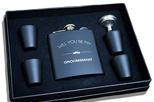 Groomsmen Proposal Gifts- Will You Be My Groomsman Gift Flask Box Set- Flasks For Men, Whiskey Flasks For Asking – Extra Thick 5mil #304 Stainless Steel, Laser Engraved, Leak Proof -