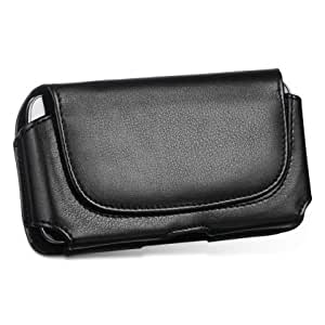 LG Optimus V (Virgin Mobile) Round Flap Leather Case Pouch Built In Magnetic Flap and Belt Clip and Soft Interior Material