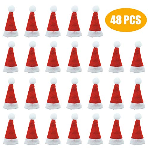 Small Santa Hats (Jyongmer 48 Pieces Mini 2.7 inch Red Santa Claus Hats Christmas Hat for Lollipop Candy Cover, Party Decoration, Wraps Toppers Decor, Doll)