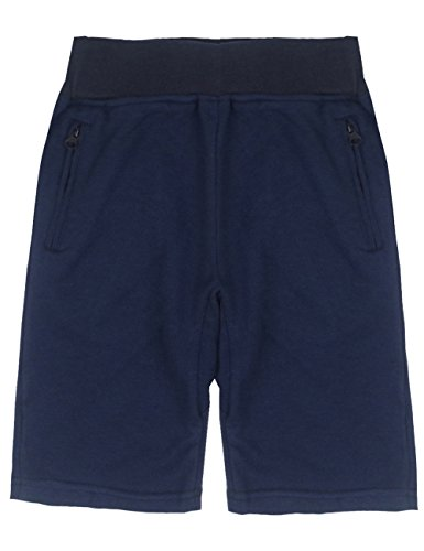 Spring&Gege Boys' Pull On Soft Solid Basic French Terry Sport Shorts, 5-6 Years, Navy Blue