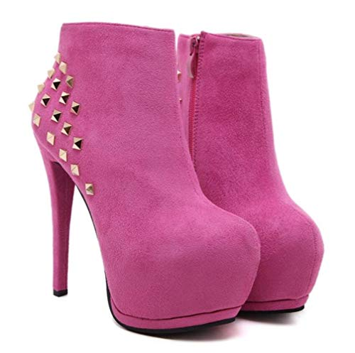 Ankle Winter Women's Cotton Retro Stiletto Autumn Boots Casual Heels Platform Rivet Heel High 34 pink Shiney New Female Velvet 5Saqxwdq