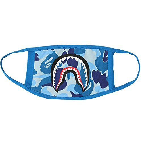 Mouth Mask 1 Pack Camping First Aid Kits Shark Face Mask (Blue)