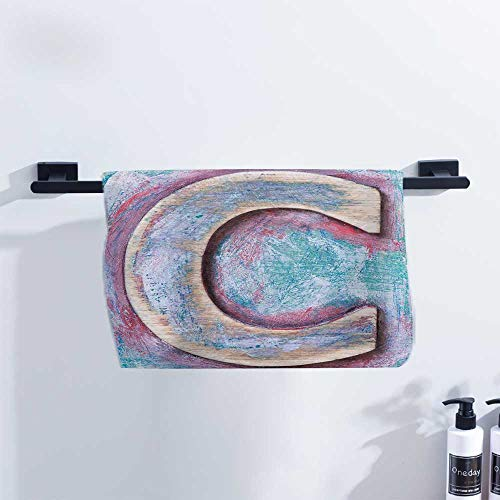 Letter C Towel Natural Wood Timber Letter C Typeface Worn Rough Display Retro ABC for Family Guest Bathrooms Gym W27 x L14 Teal Dark Coral ()