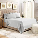Empyrean Stronger Bed Sheet Set - Holds Longer 110 GSM Heavyweight - Luxury Soft Brushed Microfiber - 6 Piece Sheets with 4 Pillowcases - Tight Fit Straps Fitted Sheet - Full Size, Silver Light Gray