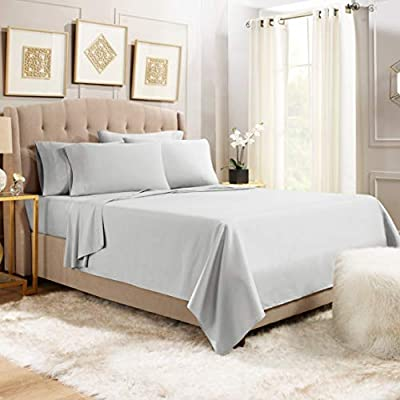"""6 Piece Queen Sheets - Bed Sheets Queen Size – Bed Sheet Set Queen Size - 6 PC Sheets - Deep Pocket Queen Sheets Microfiber Queen Bedding Sets Hypoallergenic Sheets - Queen - Silver Light Gray - WELCOME TO PARADISE: Discover the ultimate in high-end bedding with our silky smooth sheets and pillow shams! Empyrean bedding is woven from premium, high-quality microfiber material and double brushed on both sides for ultimate softness and comfort. Lightweight, breathable and cool to the touch, our luxuriously soft fitted sheet, flat sheet and pillow shams will create a heavenly sleeping experience! QUEEN SIZE: 6-piece set includes 1 deep pocket fitted sheet (60"""" x 80""""), 1 flat sheet (102"""" x 90"""") and 4 pillow cases (20"""" x 30""""). Our deep pocket fitted sheet has elastic all around the sheet as well as four additional elastic straps in each corner. This ensures a tighter, more secure fit that won't ride up or move around in middle of the night! Fits mattresses up to 16"""". Also available in Twin, Twin XL, Full, King, Split King and California King sizes. 5-STAR ELITE LUXURY: Create the bedroom of your dreams with our stunning selection of vibrant colors in a modern, elegant design! Beautiful, sophisticated and buttery-smooth, Empyrean bedding will provide you with irresistible comfort, rest and relaxation. Hotel-style luxury, sumptuous softness and classic style worthy of royalty are within your reach! - sheet-sets, bedroom-sheets-comforters, bedroom - 41RsVQnWRDL. SS400  -"""