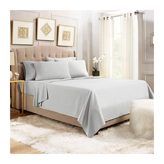 """6 Piece Queen Sheets - Bed Sheets Queen Size – Bed Sheet Set Queen Size - 6 PC Sheets - Deep Pocket Queen Sheets Microfiber Queen Bedding Sets Hypoallergenic Sheets - Queen - Silver Light Gray - WELCOME TO PARADISE: Discover the ultimate in high-end bedding with our silky smooth sheets and pillow shams! Empyrean bedding is woven from premium, high-quality microfiber material and double brushed on both sides for ultimate softness and comfort. Lightweight, breathable and cool to the touch, our luxuriously soft fitted sheet, flat sheet and pillow shams will create a heavenly sleeping experience! QUEEN SIZE: 6-piece set includes 1 deep pocket fitted sheet (60"""" x 80""""), 1 flat sheet (102"""" x 90"""") and 4 pillow cases (20"""" x 30""""). Our deep pocket fitted sheet has elastic all around the sheet as well as four additional elastic straps in each corner. This ensures a tighter, more secure fit that won't ride up or move around in middle of the night! Fits mattresses up to 16"""". Also available in Twin, Twin XL, Full, King, Split King and California King sizes. 5-STAR ELITE LUXURY: Create the bedroom of your dreams with our stunning selection of vibrant colors in a modern, elegant design! Beautiful, sophisticated and buttery-smooth, Empyrean bedding will provide you with irresistible comfort, rest and relaxation. Hotel-style luxury, sumptuous softness and classic style worthy of royalty are within your reach! - sheet-sets, bedroom-sheets-comforters, bedroom - 41RsVQnWRDL. SS570  -"""