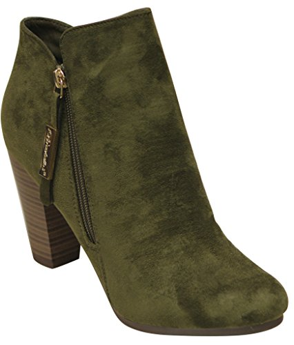 Breckelles Gina-31 Womens almond toe side zip cone heel suede ankle boots Olive