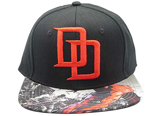 8000374458b Marvel Black Daredevil DD Logo Sublimated Bill Snapback Baseball Cap