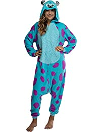 Disney Monsters Inc. Adult Sulley Kigurumi Sherpa Fleece Cosplay Costume One Piece Union Suit