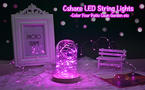 cshare Led Fairy Lights Battery Operated, 1 Pack 16ft/50 LEDs Mini Battery Powered Copper Wire Starry Fairy Lights for Bedroom, Christmas, Parties, Wedding, Centerpiece, Decoration (Pink)