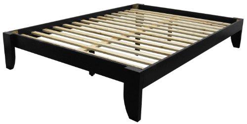 Black Finish Solid Wood - Stockholm Solid Wood Bamboo Platform Bed Frame, Queen-size, Black Finish
