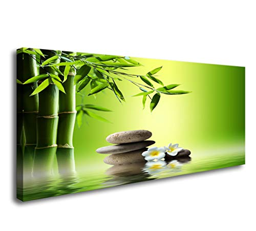 Cao Gen Decor Art-H41362 1 Panels Canvas Art Zen Canvas Prints Spa Wall Decor 1 panel Artwork Stretched and Framed Perfect Bamboo Green Pictures on Canvas Natural Landscape for Home Wall Decor Artwork