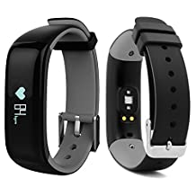 Bluetooth Smart Bracelet Watch Wristband Sports Blood pressure Heart Rate Monitor Fitness Tracker Pedometer Step Counter Tracking Calorie Health Sleep Monitor OLED Display for Android IOS (P1-Grey)