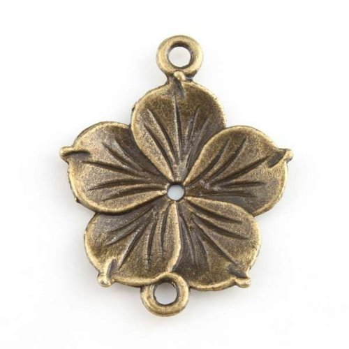 Antique Bronze Charms Flower Alloy Connector Jewelry