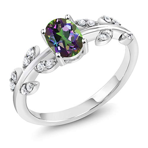 Gem Stone King 925 Sterling Silver Green Mystic Topaz Olive Women