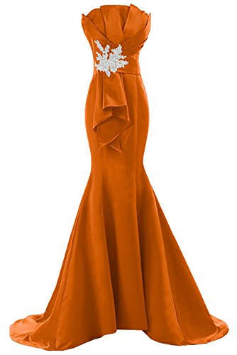 Les Bretelles De Appliques Fanciest Femmes Sirène Robes De Bal 2016 Robes De Soirée Orange,