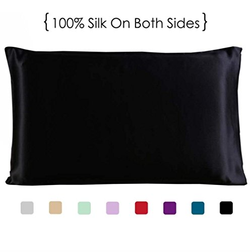 COCOSILK Silk Pillowcase for Hair and Skin, 100% Mulberry Silk Pillow Sham with Hidden Zipper, 19 Momme Both Sides Charmeuse Silk Pillow Case/Cover/Protector, Black Queen Size 1PC