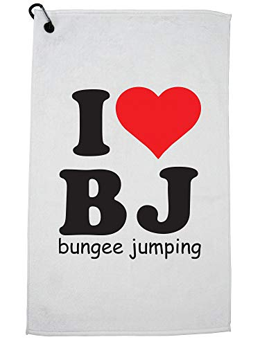 Hilarious I Love BJ - Bungee Jumping Graphic Golf Towel with Carabiner Clip by Hollywood Thread