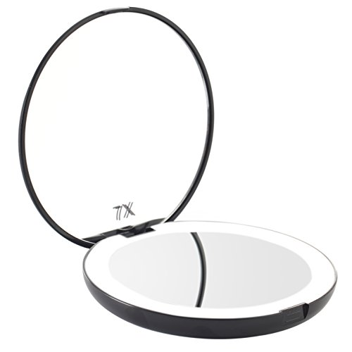 Miss Sweet Lighted Led Travel Mirror Compact for Cosmetic Makeup (S1 Black)