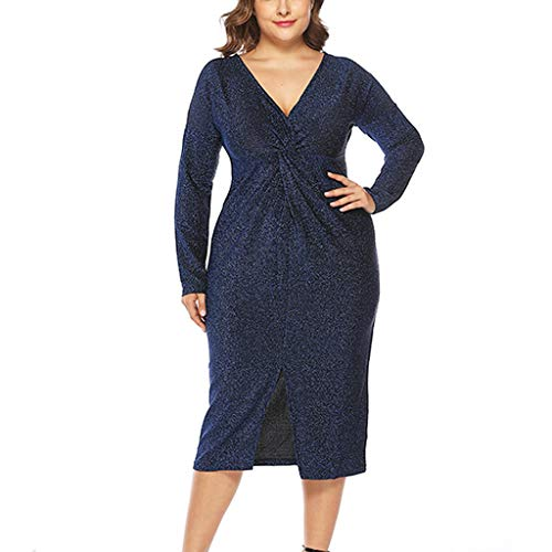 Wisnummer Womens Sequin Dresses Plus Size Sexy Party Cocktail Bodycon Formal Prom V Neck Long Sleeve Dress Blue