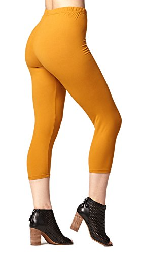 (Premium Ultra Soft Womens High Waisted Capri Leggings - Cropped Length - Solid - Mustard - Plus Size (12-24))