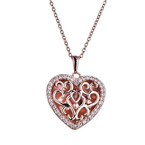 With You Lockets Fine Rose Gold Custom Photo Heart Locket Necklace That Holds Pictures for Women The Mary ()