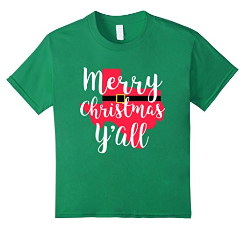 Kids Merry Christmas Yall Santa Suit State Gift Mom Shirt Texas 8 Kelly Green