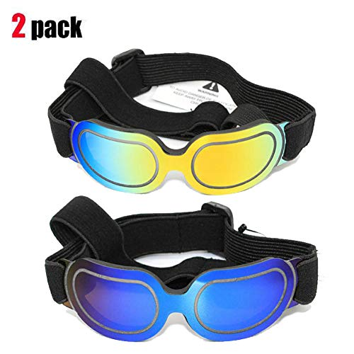 2 Pack Dog Sunglasses Eye Wear UV Protection Goggles Cat Glasses Pet Colorful Sunglasses by Running Pet