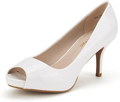 DREAM PAIRS OL Women's Elegant Classic Open Toe Low Heel Wedding Party Platform Peep Toe Pumps Shoes