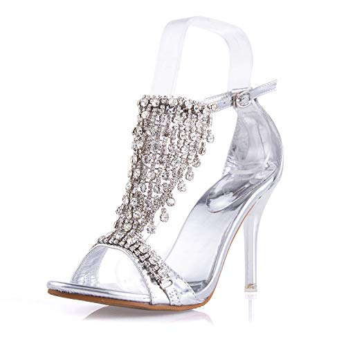 JSUN7 Women's Stiletto Block High Heel Sandals Silver 1920s Gatsby Sparkling Rhinestone Ankle Strap Open Toe Pumps with Decor Fashion Formal Dress Party Prom Bride Sexy Shoes for Women