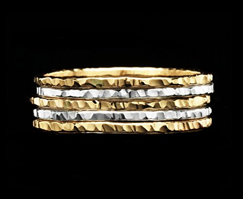 Mixed Metal Ring (Hammered Stacking Rings, Mixed Metal 14K Gold Fill and Silver Set of 5 Custom Made to Your Size)