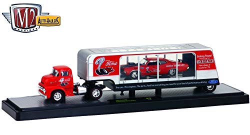 (M2 Machines 1956 Ford COE & 1970 Ford Torino Cobra (Candy Apple Red w/Vintage Ford Cobra Graphic) Auto-Haulers Release 19A - 2016 Castline 1:64 Scale Die-Cast Vehicle Set (R19 16-06) )