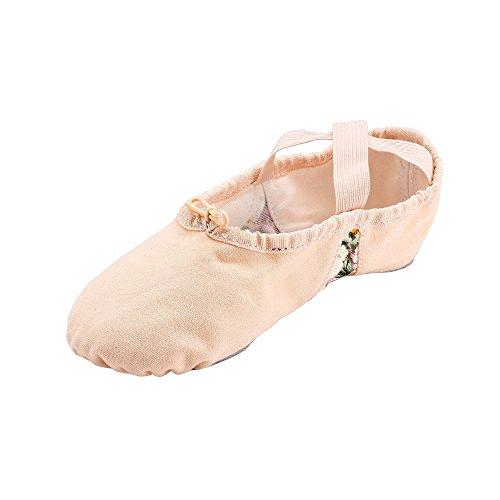 Msmax Splitzool Canvas Balletschoen Dames Slip Op Bloempjes Beige Met Bloem