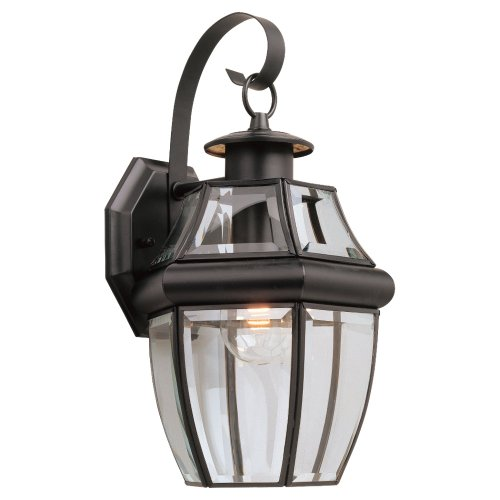 Sea Gull Lighting 8067-12 Single-Light Outdoor Lancaster Wall Lantern, Clear Beveled Glass and Black (Wall Black Lancaster Lantern)