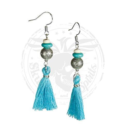 Naapi - SKULLS AND SPIRITS - Pendientes boho con borla plata azul (hecho en España): Amazon.es: Handmade