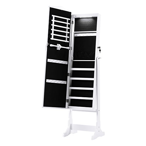 LANGRIA 10 LEDs Lockable Jewelry Cabinet Full-Length Mirrored Jewelry Armoire Free Standing, 5 Shelves, Organizer for Rings, Earrings, Bracelets, Broaches, Cosmetics, White from LANGRIA